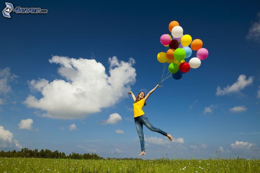 girl on the meadow, jump, joy, balloons