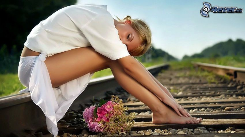 girl on the railroad, white dress, bouquet of roses