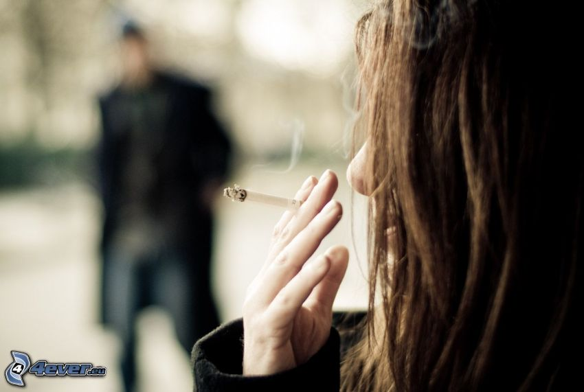 girl with a cigarette, brunette, man