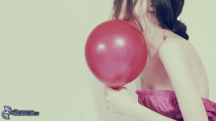 girl with balloons, brunette