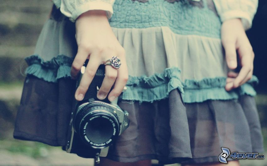 girl with camera, hands