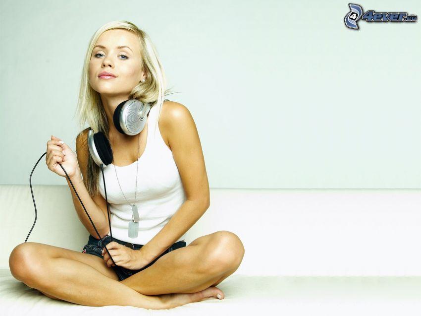 girl with headphones, blonde