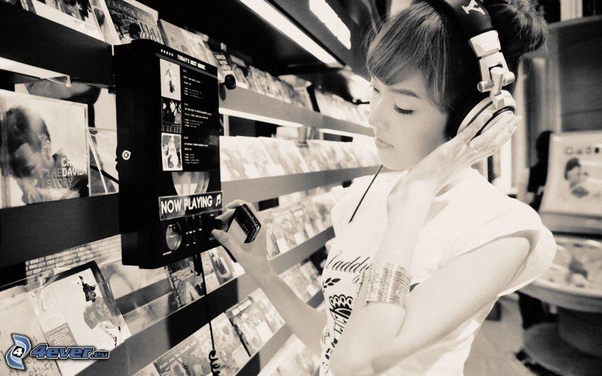 girl with headphones, CD
