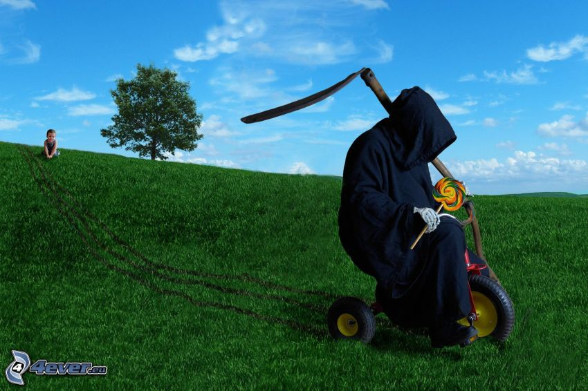 Grim Reaper, lollipop, tricycle, meadow, lonely tree