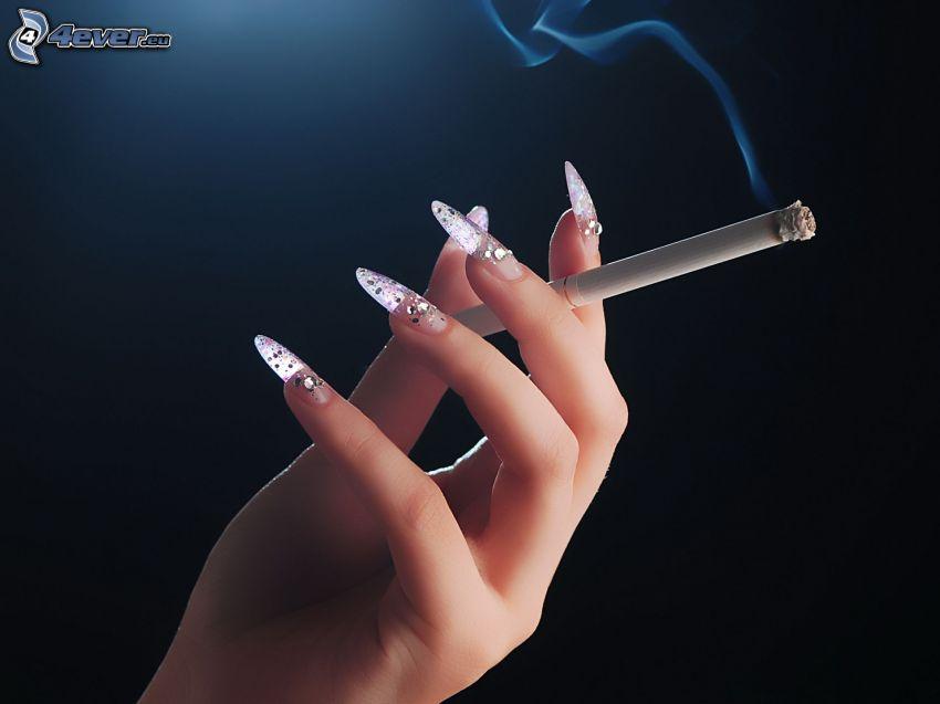 hand, cigarette, nails