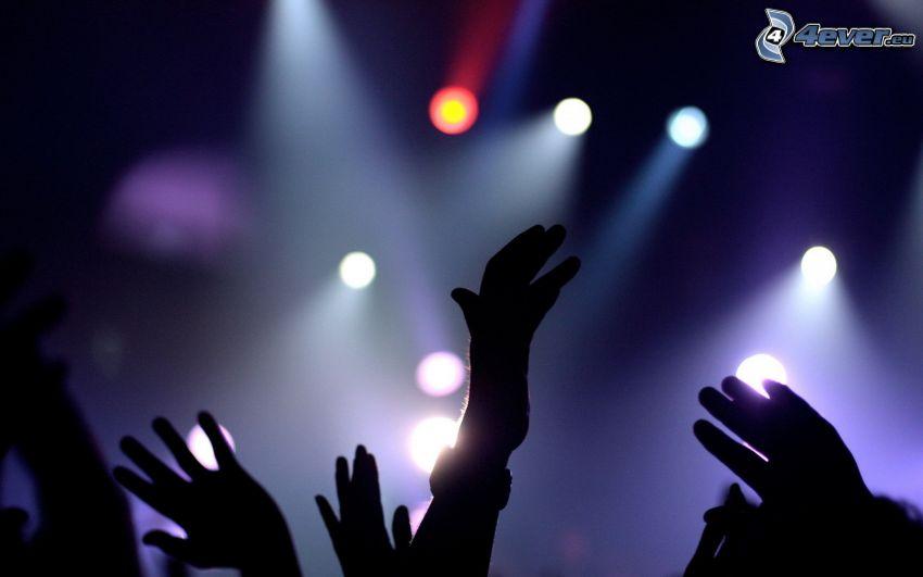 hands, concert, lights