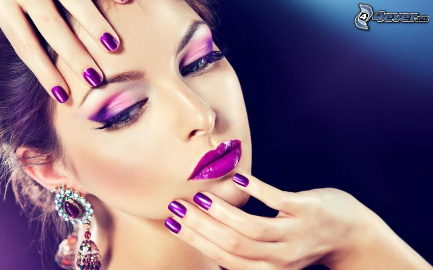 make up woman, painted nails, purple lips, earrings