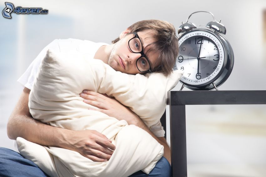 man, depression, alarm clock, pillow, glasses
