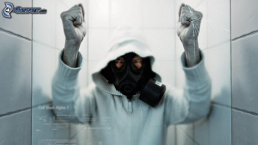 man in gas mask, broken glass