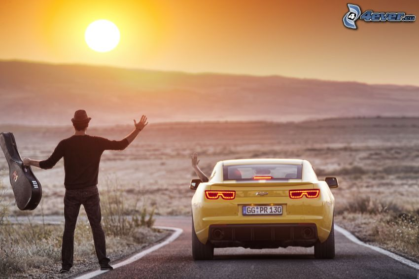 man with guitar, Chevrolet, road, sunset
