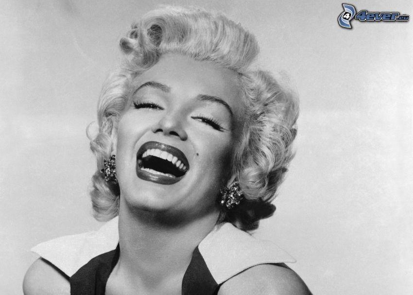 Marilyn Monroe, laughter, black and white photo