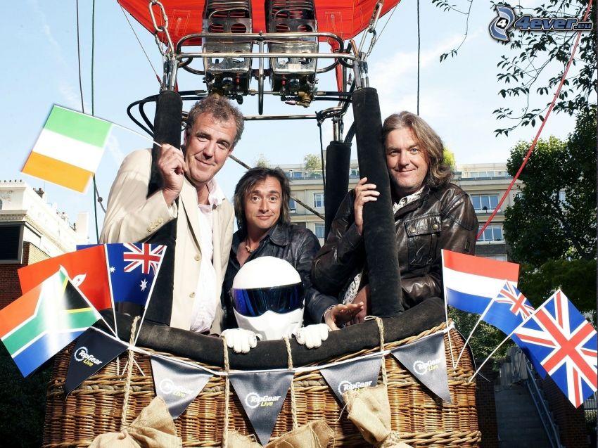 men, hot air balloon, flags