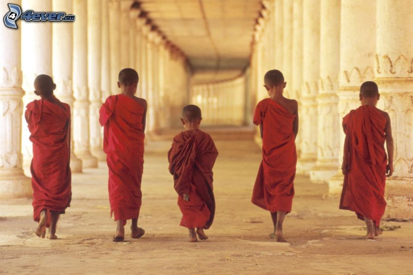 monks, children, corridor