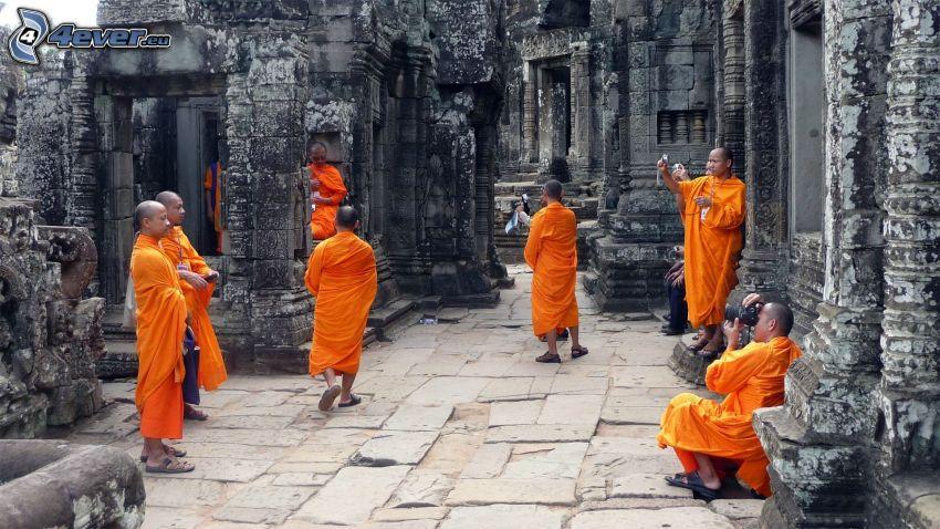 monks, ruins