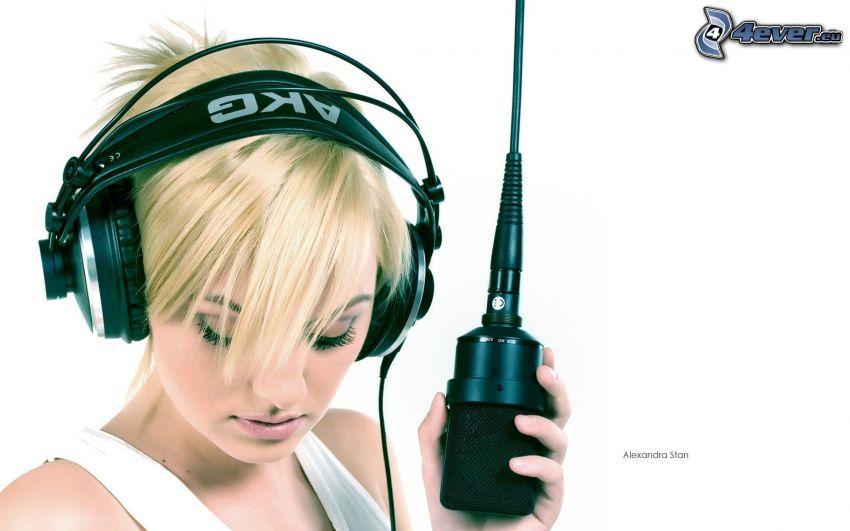 Alexandra Stan, headphones, microphone