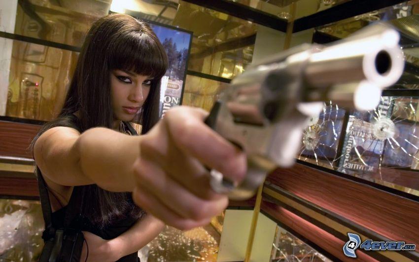 Alicia Keys, woman with a gun