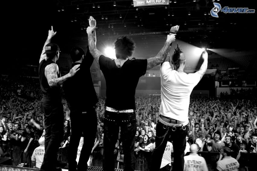 Avenged Sevenfold, concert, black and white photo