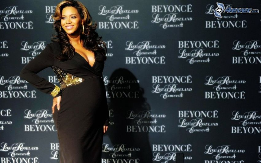 Beyoncé Knowles, black dress, pregnant woman