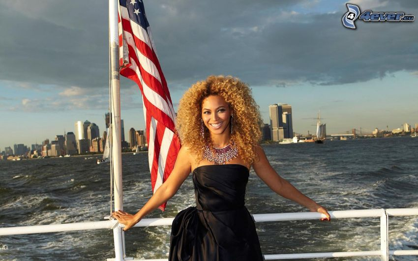 Beyoncé Knowles, ship, Manhattan, skyscrapers, sea, the USA flag