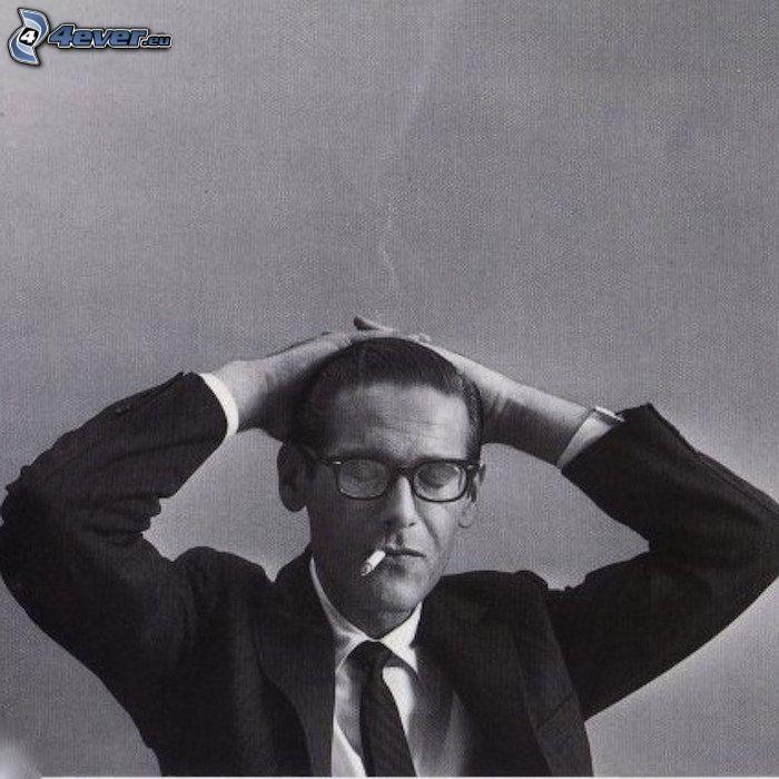 Bill Evans, pianist, black and white photo