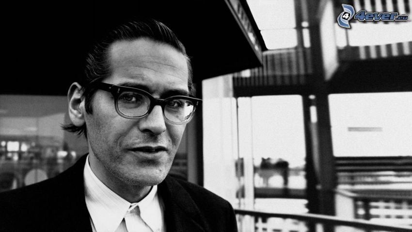 Bill Evans, pianist, man with glasses, black and white photo
