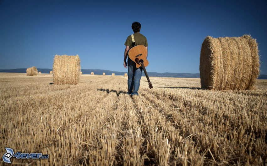 boy with a guitar, hay after harvest