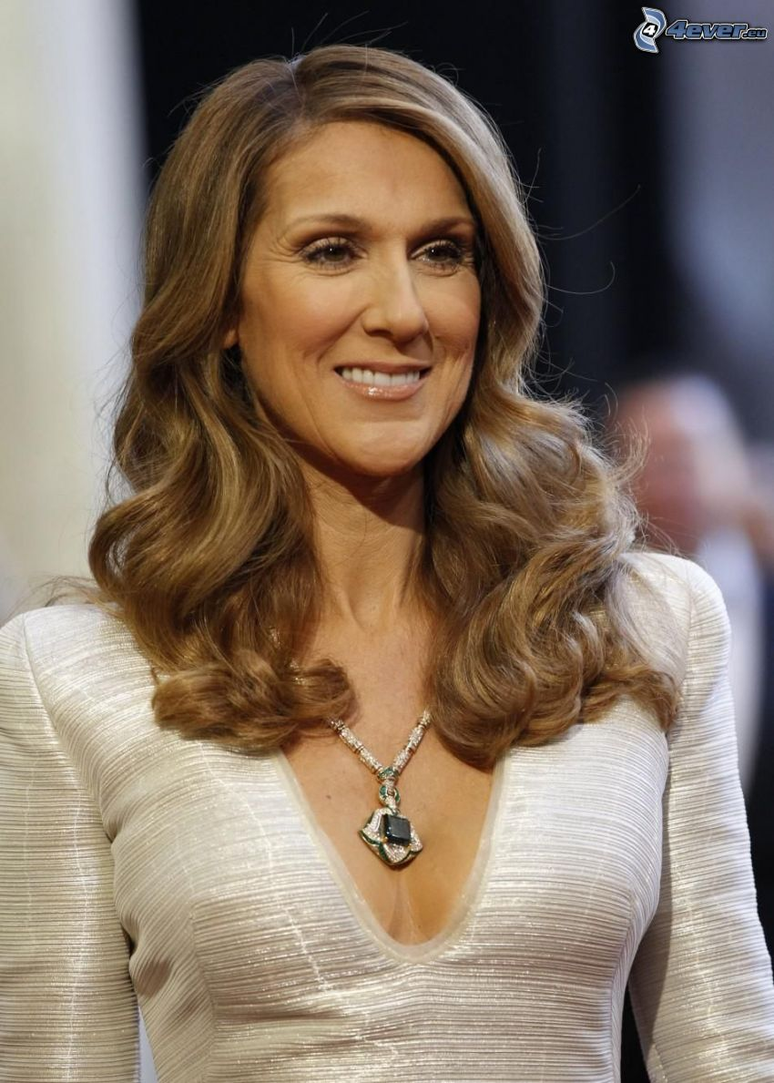 Celine Dion, curly hair, smile