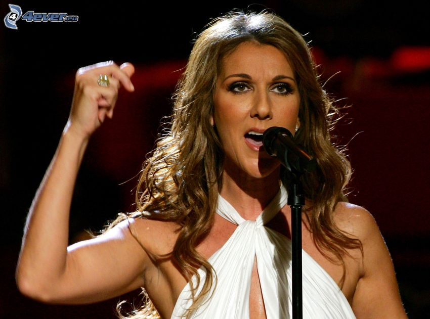 Celine Dion, singing, microphone