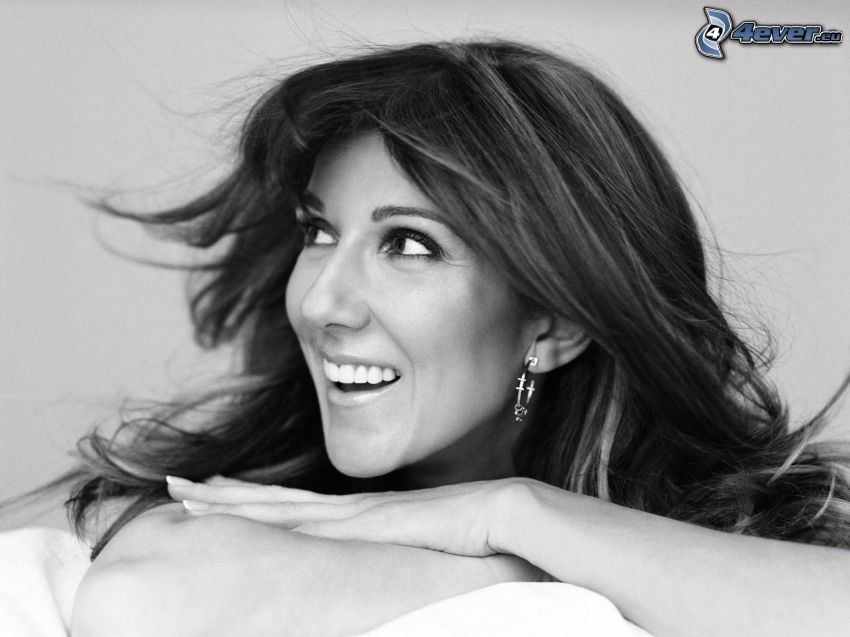 Celine Dion, smile, black and white photo