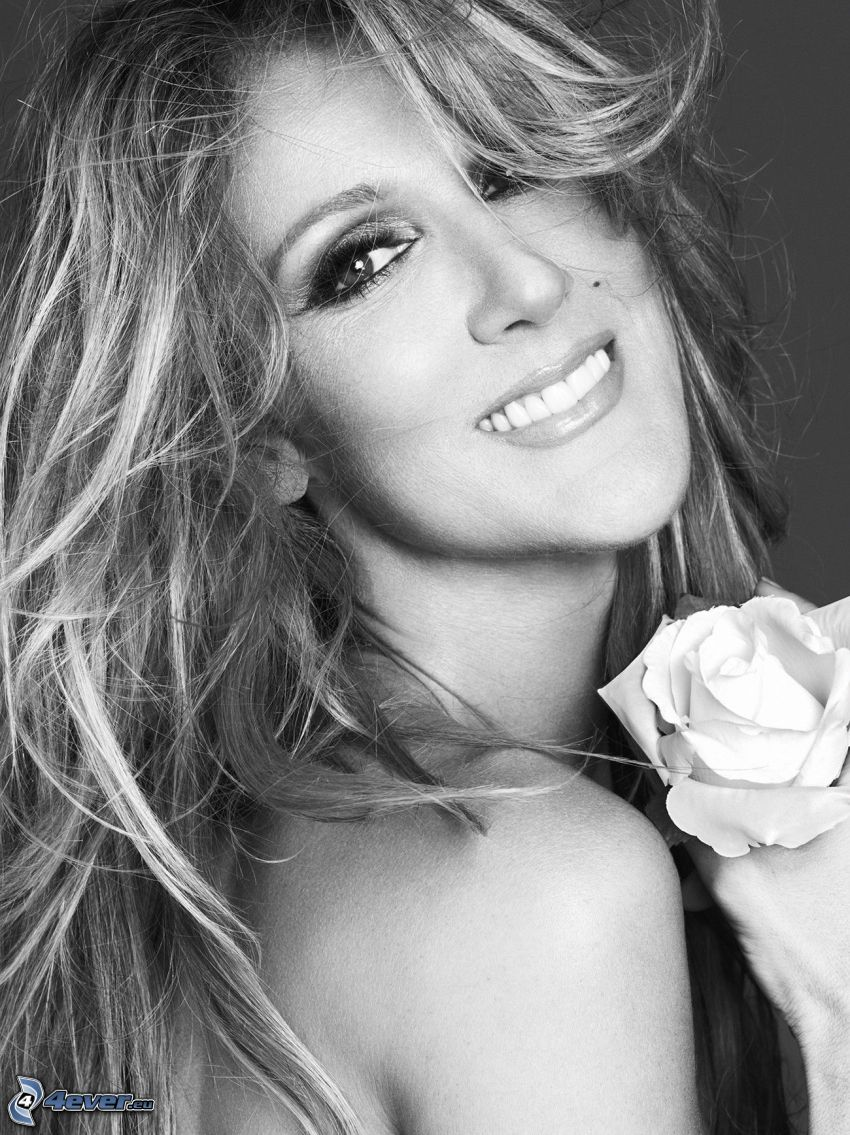Celine Dion, smile, White rose, black and white photo