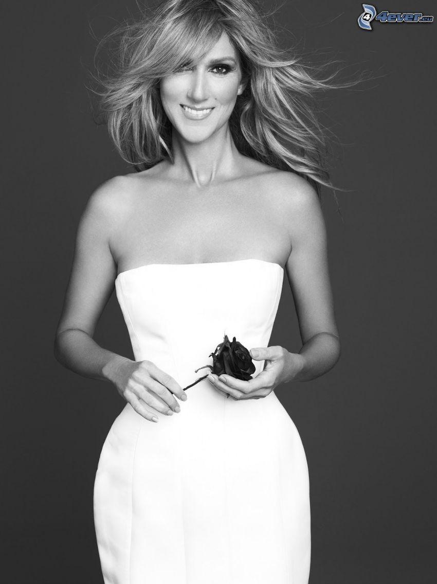 Celine Dion, white dress, smile, rose, black and white photo
