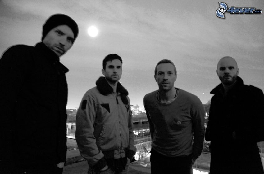 Coldplay, black and white photo