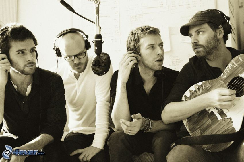 Coldplay, guitar, microphone, sepia