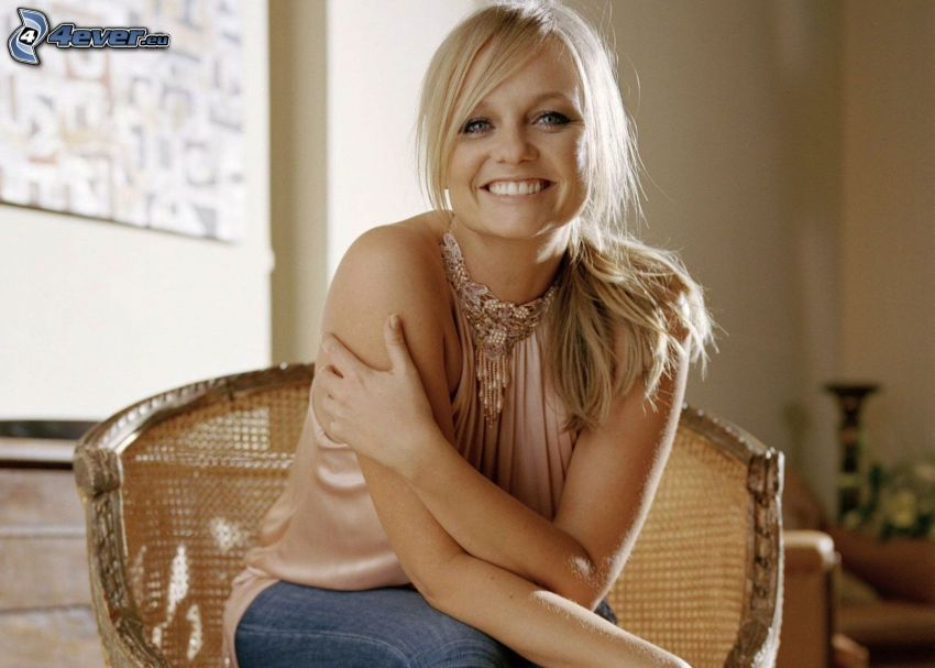 Emma Bunton, blonde in a chair, smile
