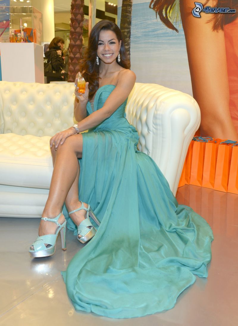 Fernanda Brandao, smile, turquoise dress