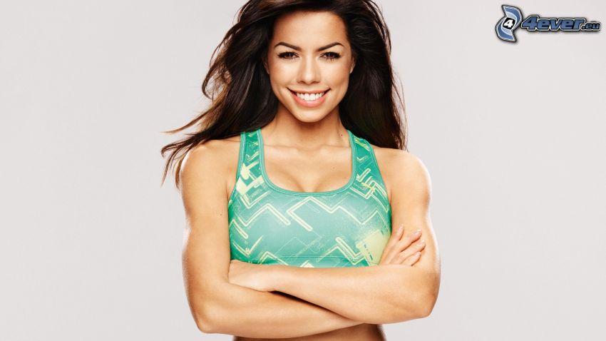 Fernanda Brandao, smile, undershirt