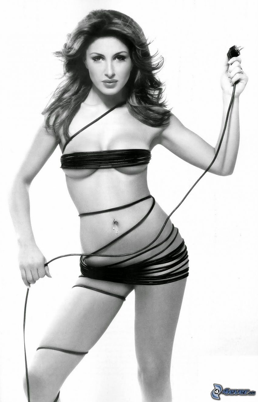 Helena Paparizou, black and white photo, cable