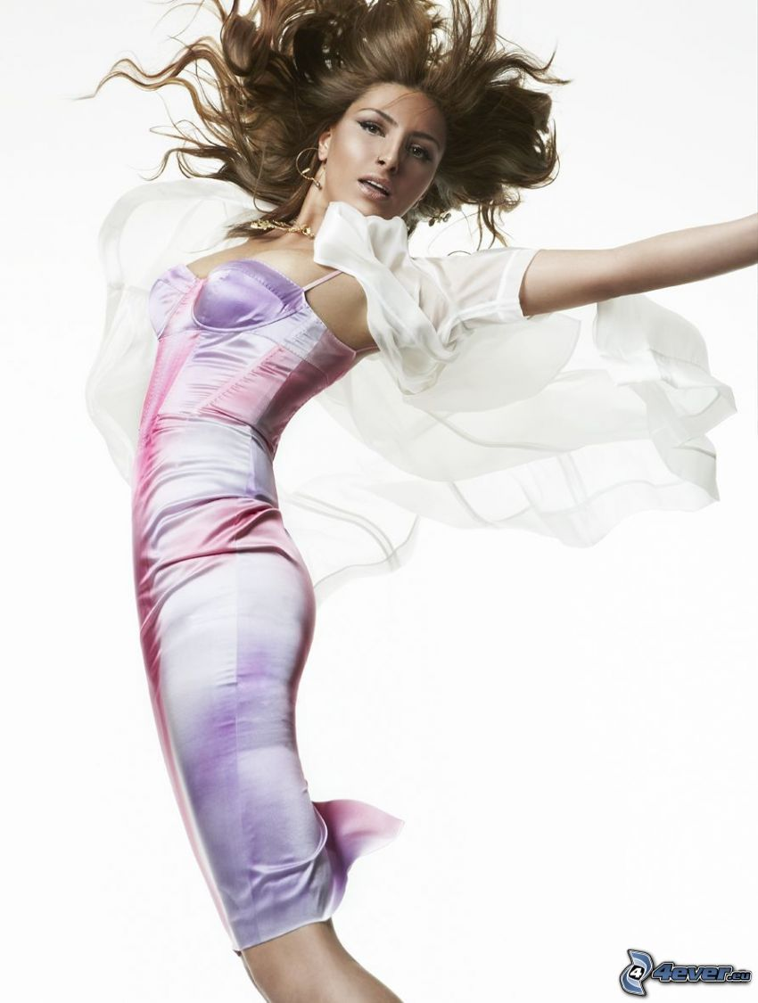 Helena Paparizou, pink dress, jump