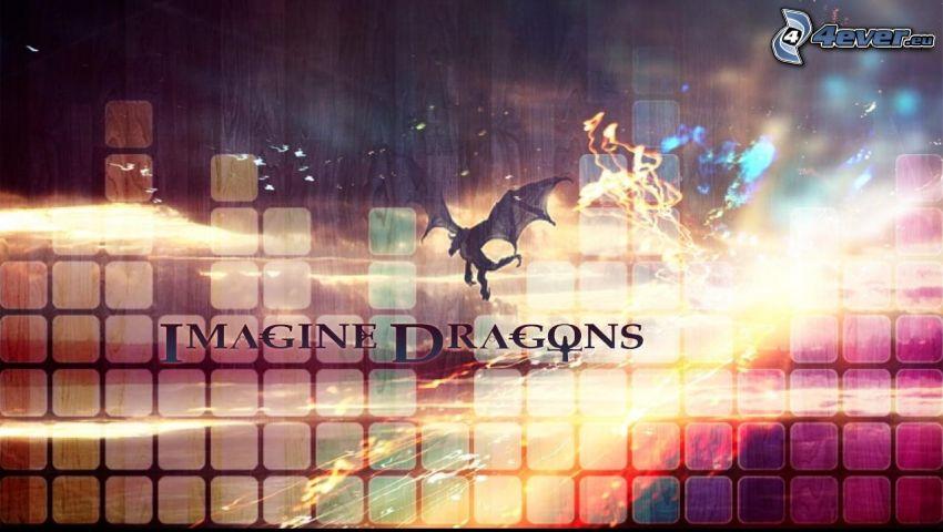 Imagine Dragons, dragon, squares