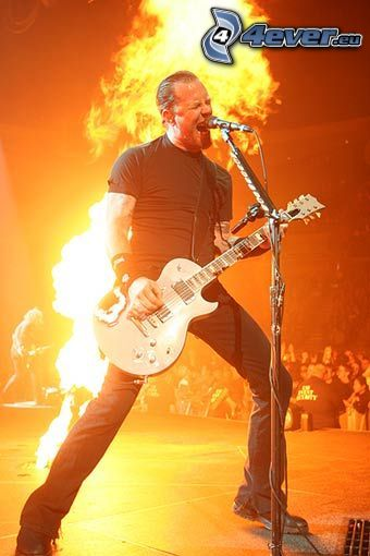 James Hetfield, Metallica, music, fire, singer, electric guitar, concert