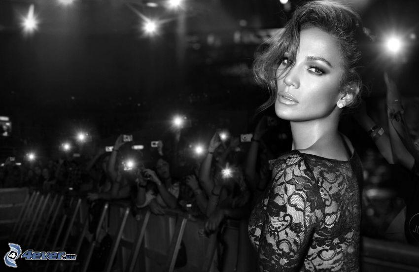 Jennifer Lopez, black and white photo