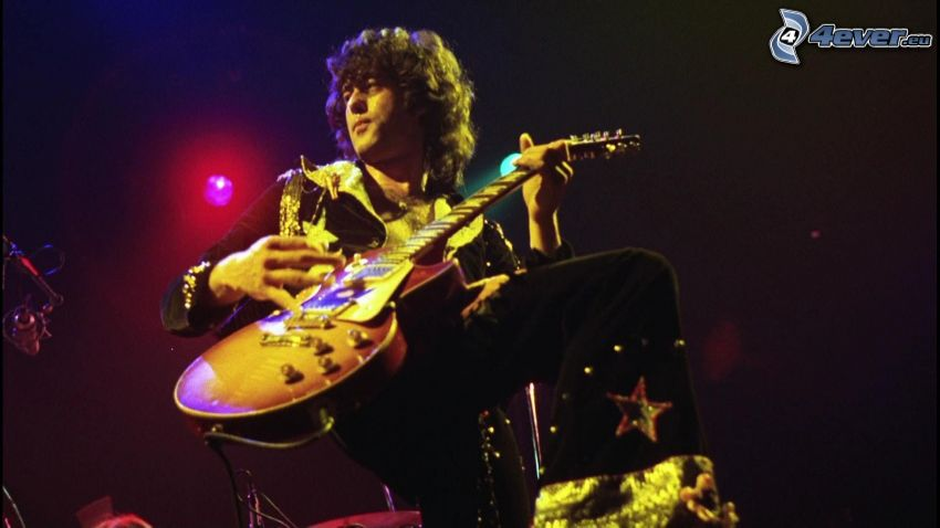 Jimmy Page, guitarist, playing guitar