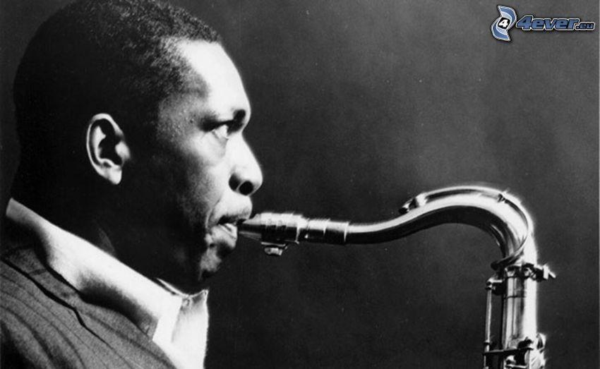 John Coltrane, saxophonist, black and white photo