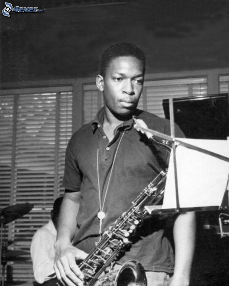 John Coltrane, saxophonist, black and white photo