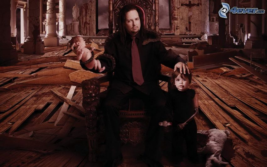 Jonathan Davis, baby, snake, little boy, white dog