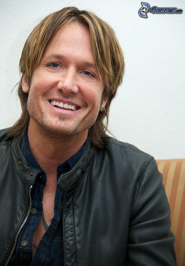 Keith Urban, smile, leather jacket