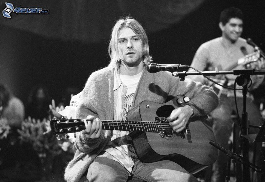 Kurt Cobain, guitar, microphone