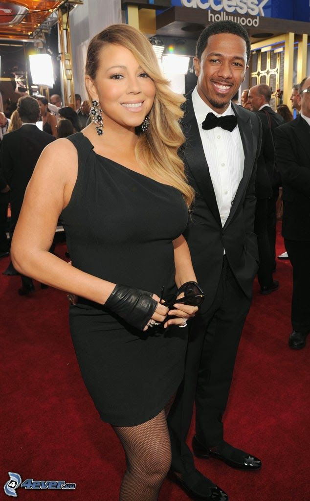Mariah Carrey, Nick Cannon, black dress, suit