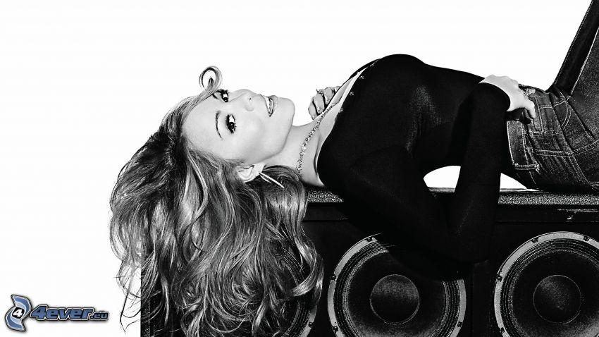 Mariah Carrey, speaker, black and white photo