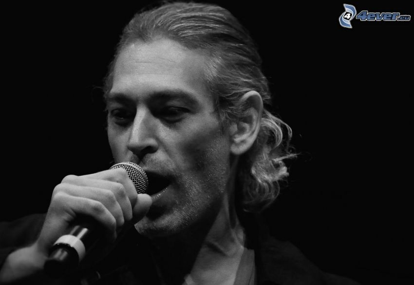 Matisyahu, singing, black and white photo